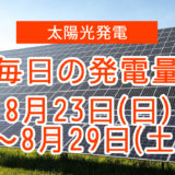 毎日の発電量8月23日~8月29日