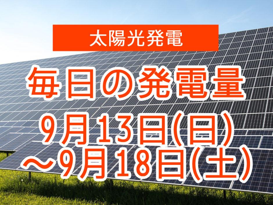 毎日の発電量9月13日~9月18日