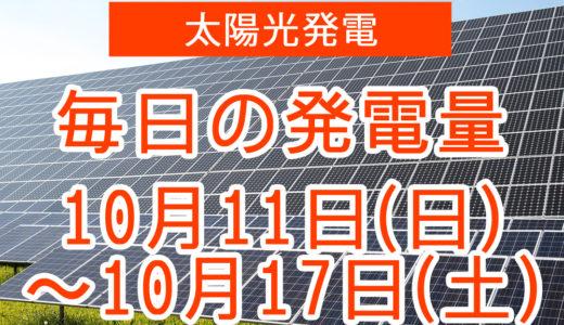 戸建て5.5kwの太陽光発電の毎日の発電量【2020年10月11日(日)~10月17日(土)】