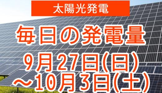 戸建て5.5kwの太陽光発電の毎日の発電量【2020年9月27日(日)~10月3日(土)】