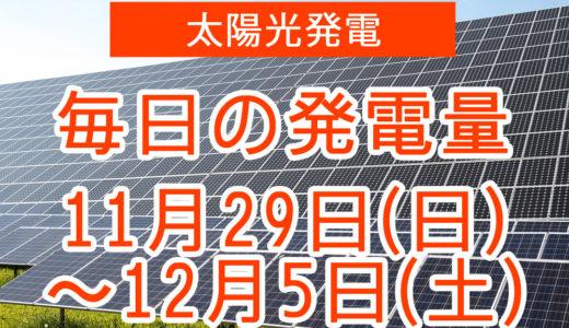戸建て5.5kwの太陽光発電の毎日の発電量【2020年11月29日(日)~12月5日(土)】