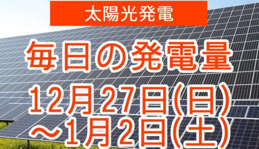 戸建て5.5kwの太陽光発電の毎日の発電量【2020年12月27日(日)~1月2日(土)】