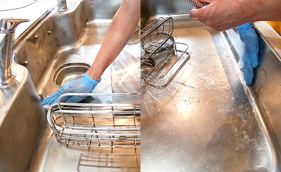 キッチンシンクはクリーナーをティッシュで拭き取ってから中性洗剤で洗い流す