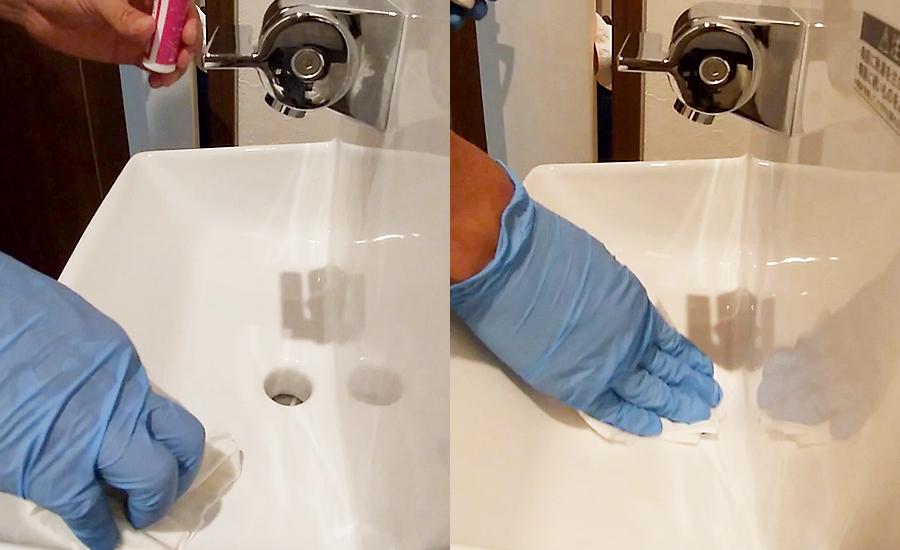 余った陶器用でトイレの手洗い場もコーティング