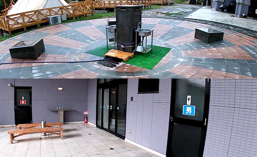 外に設置されている洗い場とトイレ