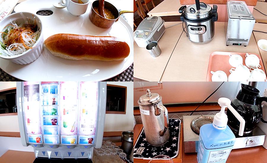 大人の朝食はプレートとスープやカレーライス、ドリンクバーなどが付いています