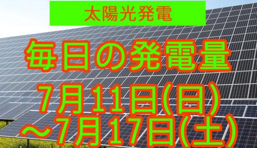 家庭用5.5kwの太陽光発電の毎日の発電量【2021年7月11日(日)~7月17日(土)】