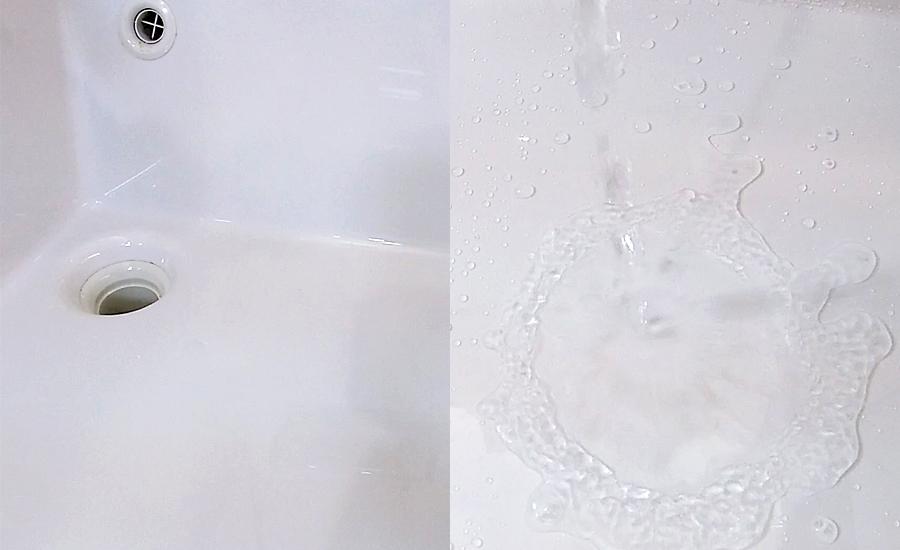 洗面台もコーティング後に撥水がすごい