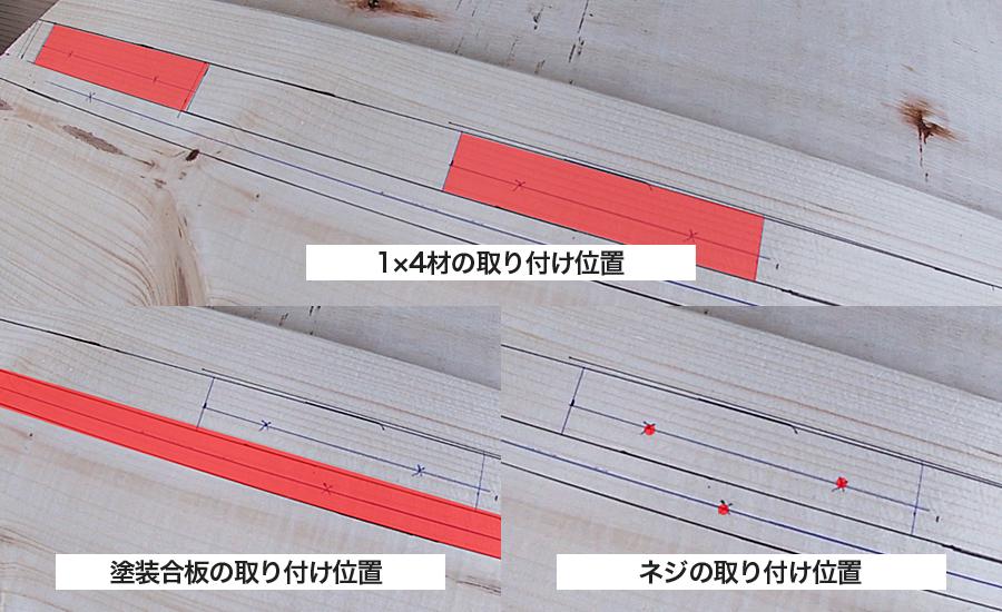 それぞれの木材の下書きした取り付け位置
