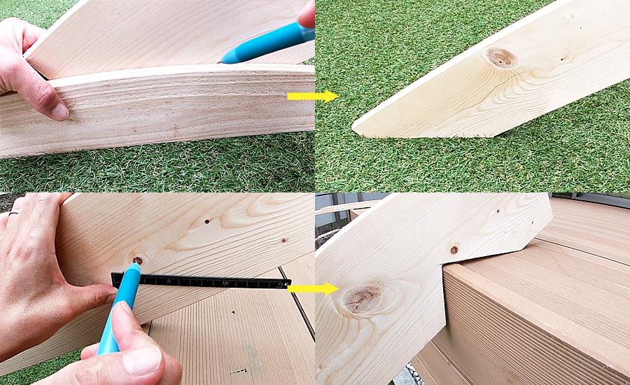 ウッドデッキに1×6材(ワンバイシックス)を立てかけてみて脚部分とウッドデッキに掛ける部分をL字定規で直角を測り下書きし、カット