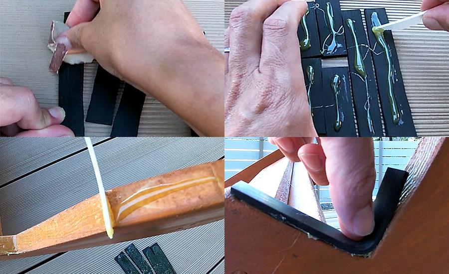 ゴム用ボンドを塗る面にヤスリを掛けてボンドを付けて5分放置して貼り付け