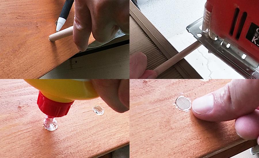 ネジ穴と同じ大きさの丸棒を穴に入れて印をつけながらカットし、木工用ボンドで穴を埋めていきました