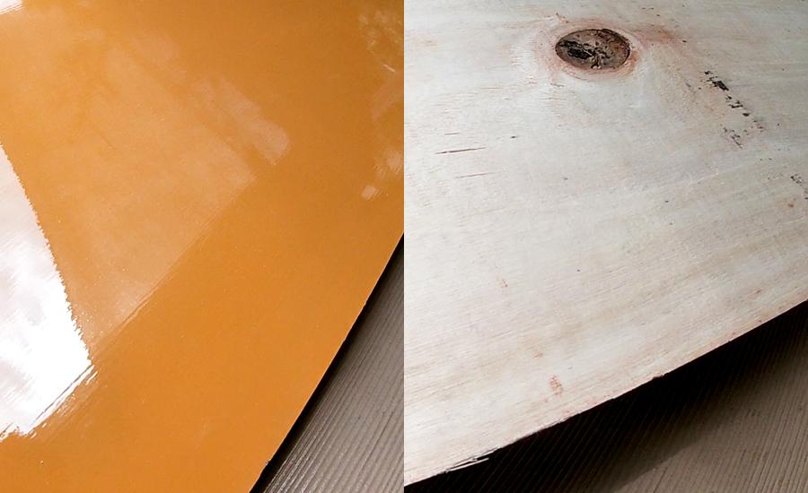 塗装合板は表面がツルツル、裏面は木がむき出し
