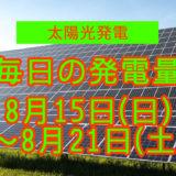 毎日の発電量8月15日~8月21日