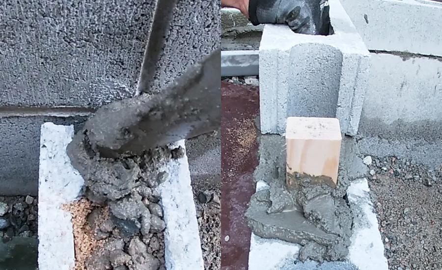 つなぎ目部分にセメントを流したり、上段のハーフブロックを設置していきました