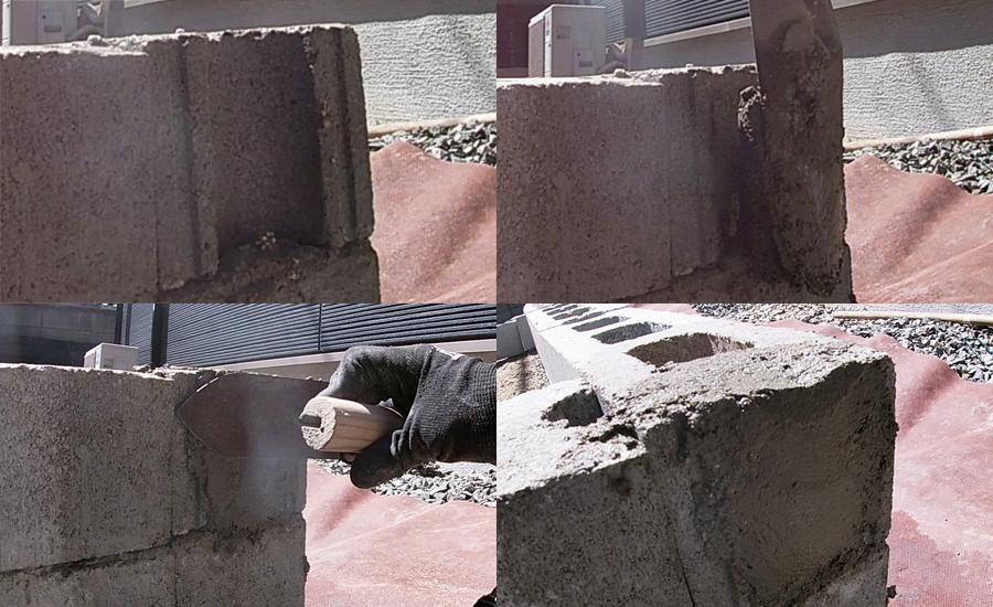 ハーフブロックの凹み部分もセメントで埋めました