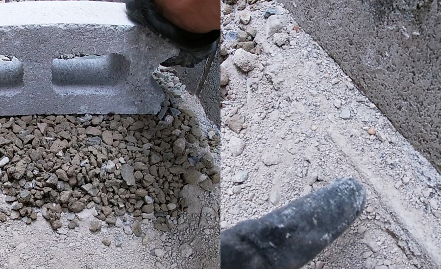 バラスはコンクリートブロックで叩いて段差などをなくし設置部分を平らにしていきます