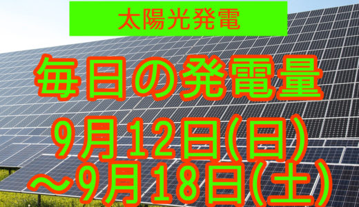 家庭用5.5kwの太陽光発電の毎日の発電量【2021年9月12日(日)~9月18日(土)】