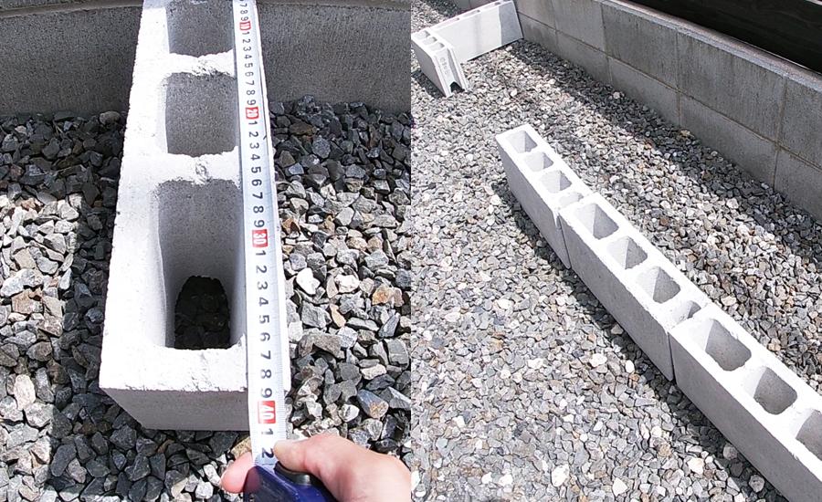 花壇の広さはコンクリート1つ分の奥行と全体は12個分の大きさに決定