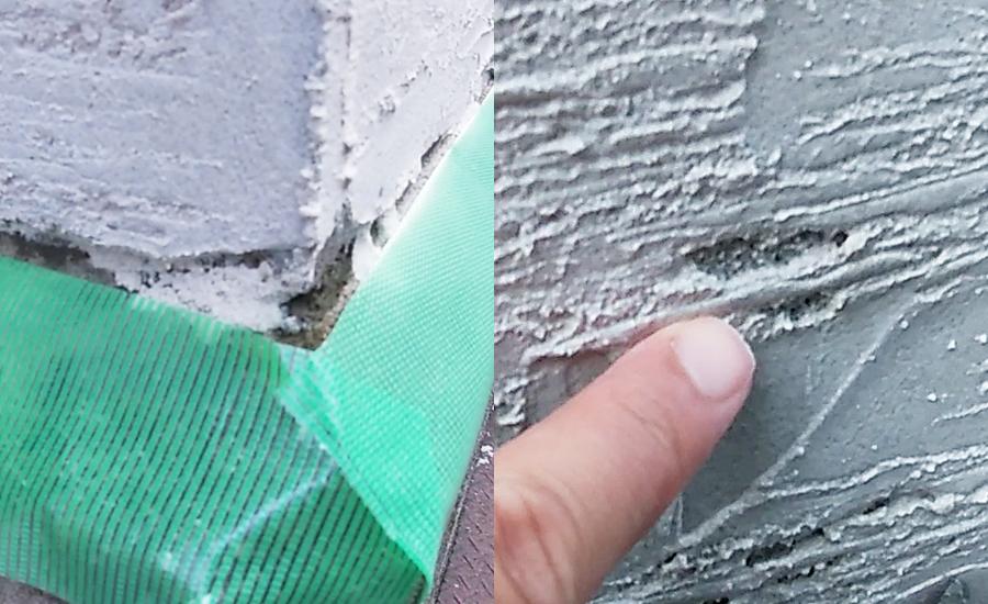 モルタルを塗り切れていなかった部分やパターンローラーで削りすぎてしまった部分などにモルタルを足していき、微修正